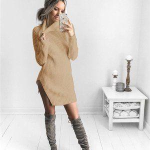 Tan Turtleneck Sweater Dress Size M